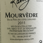 Domaine de Rancy Le Mourvedre 2011 Cotes Catalanes back