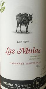 Las Mulas Cabernet Sauvignon Reserva 2013 Chile organic
