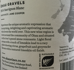 Ohau Gravels informative wine label sustainable wines