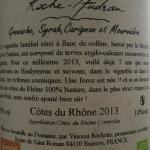 Domaine Roche Audran organic Cotes du Rhone back