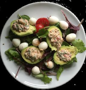 power breakfast crab avocado eggs